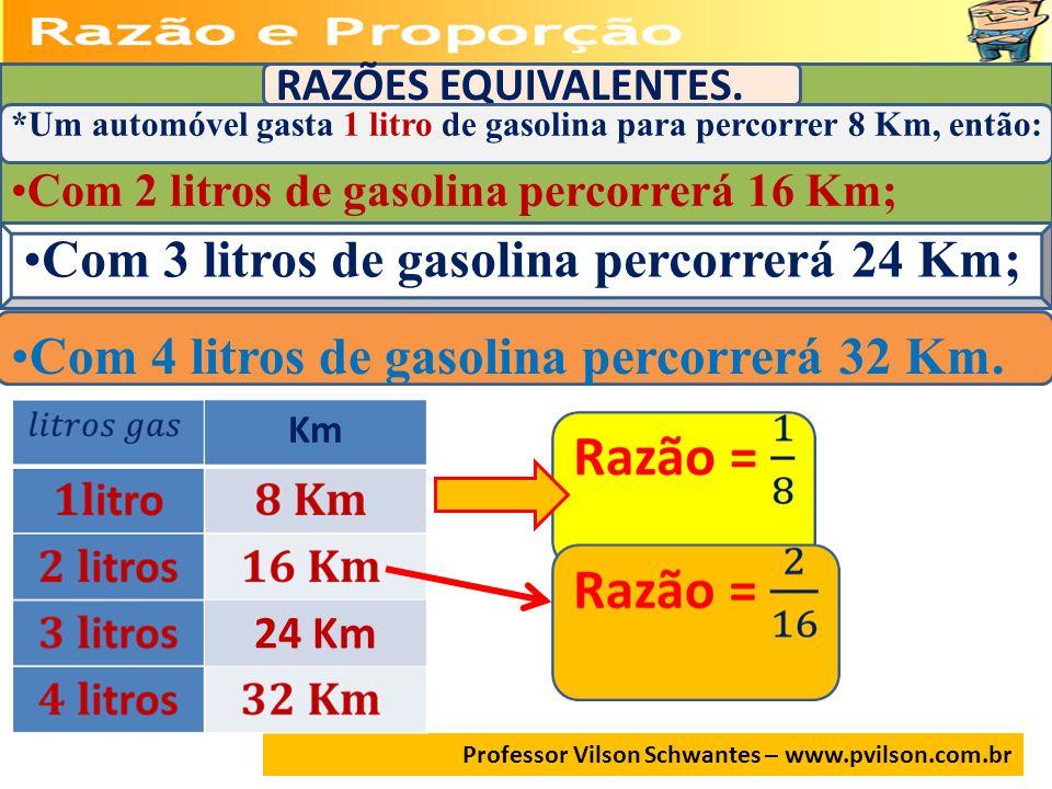 RAZÕES EQUIVALENTES. *Um automóvel gasta 1 litro de gasolina para percorrer 8 Km, então: Com 2 litros de gasolina percorrerá 16 Km; Com 3 litros de ga