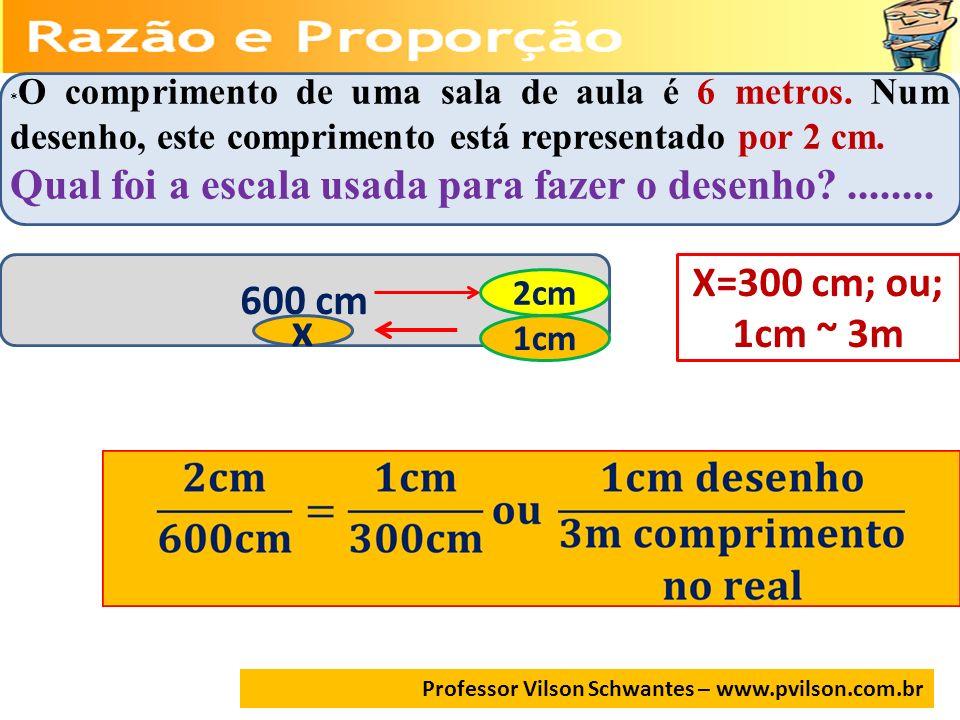 Professor Vilson Schwantes – www.pvilson.com.br * O comprimento de uma sala de aula é 6 metros. Num desenho, este comprimento está representado por 2