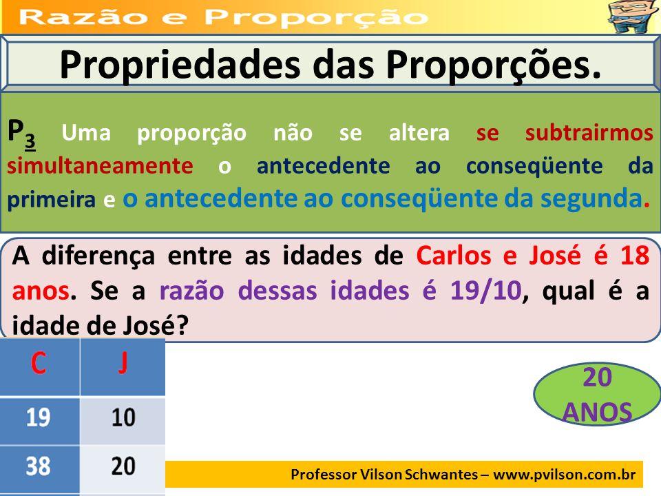 Professor Vilson Schwantes – www.pvilson.com.br Propriedades das Proporções. P 3 Uma proporção não se altera se subtrairmos simultaneamente o antecede