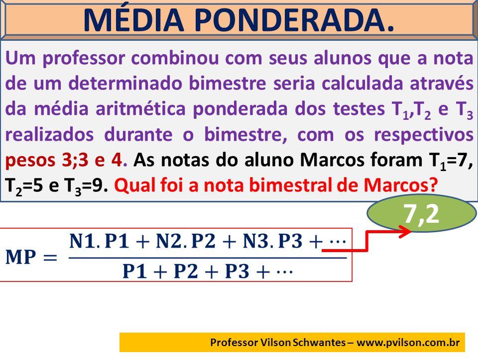 Professor Vilson Schwantes – www.pvilson.com.br MÉDIA PONDERADA. Um professor combinou com seus alunos que a nota de um determinado bimestre seria cal