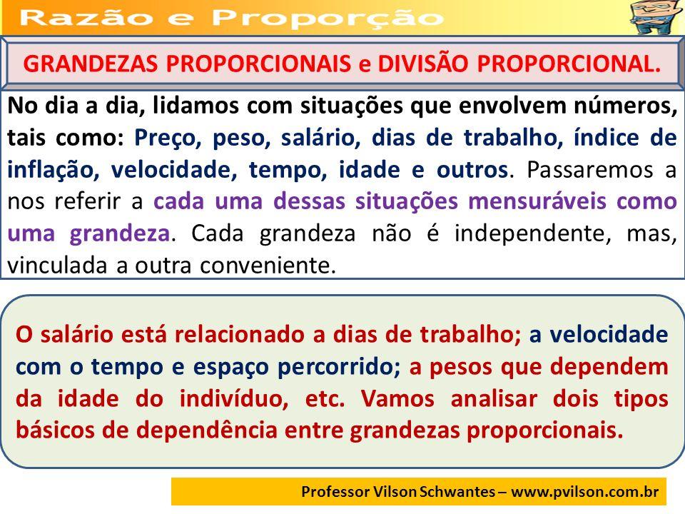 Professor Vilson Schwantes – www.pvilson.com.br GRANDEZAS PROPORCIONAIS e DIVISÃO PROPORCIONAL. No dia a dia, lidamos com situações que envolvem númer