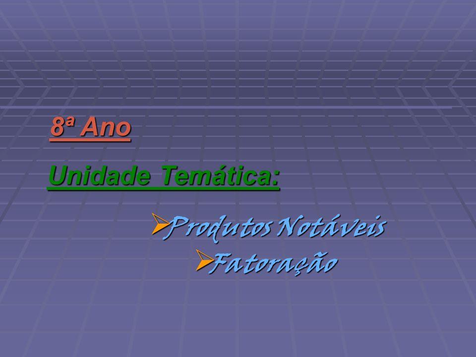 Fatoração Fatoração 8ª Ano Unidade Temática: Produtos Notáveis Produtos Notáveis