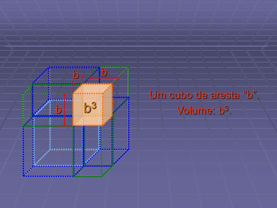 Um cubo de aresta b. Volume: b 3. b3b3b3b3 b b b