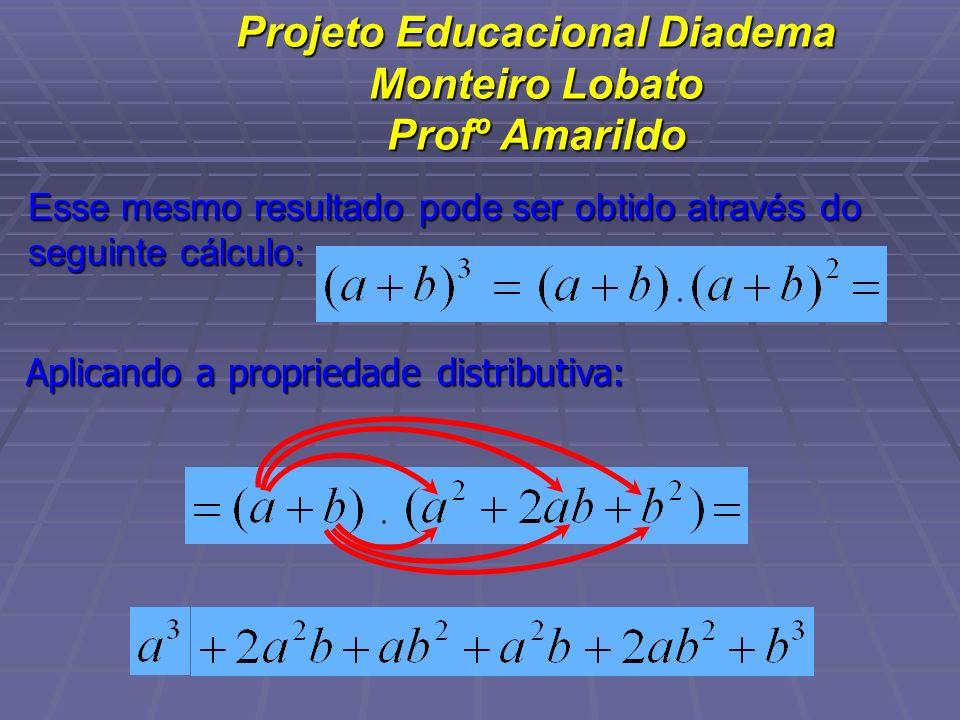 Projeto Educacional Diadema Monteiro Lobato Profº Amarildo Esse mesmo resultado pode ser obtido através do seguinte cálculo: Aplicando a propriedade d