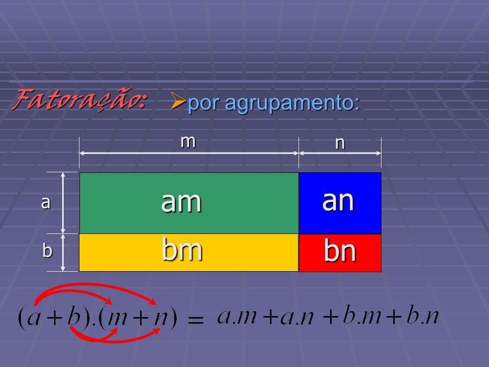 por agrupamento: por agrupamento: am b a m nFatoração: bm an bn