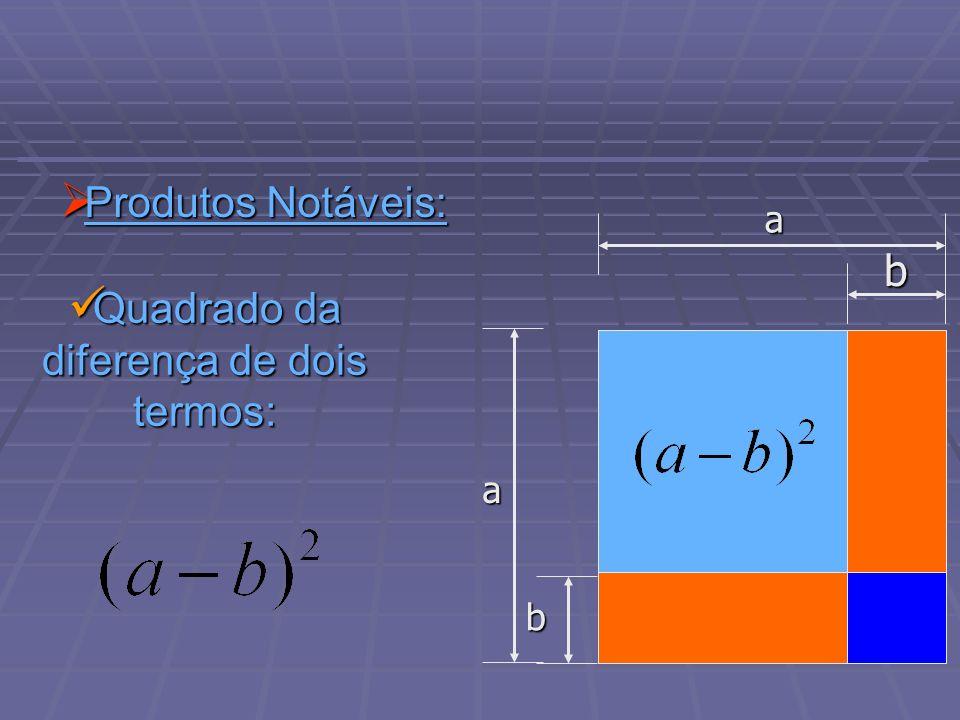 Produtos Notáveis: Produtos Notáveis: Quadrado da diferença de dois termos: Quadrado da diferença de dois termos: b a b a