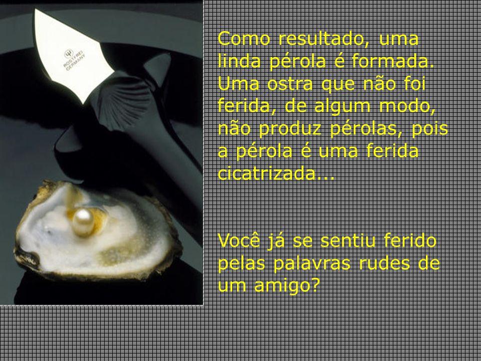 Como resultado, uma linda pérola é formada. Uma ostra que não foi ferida, de algum modo, não produz pérolas, pois a pérola é uma ferida cicatrizada...