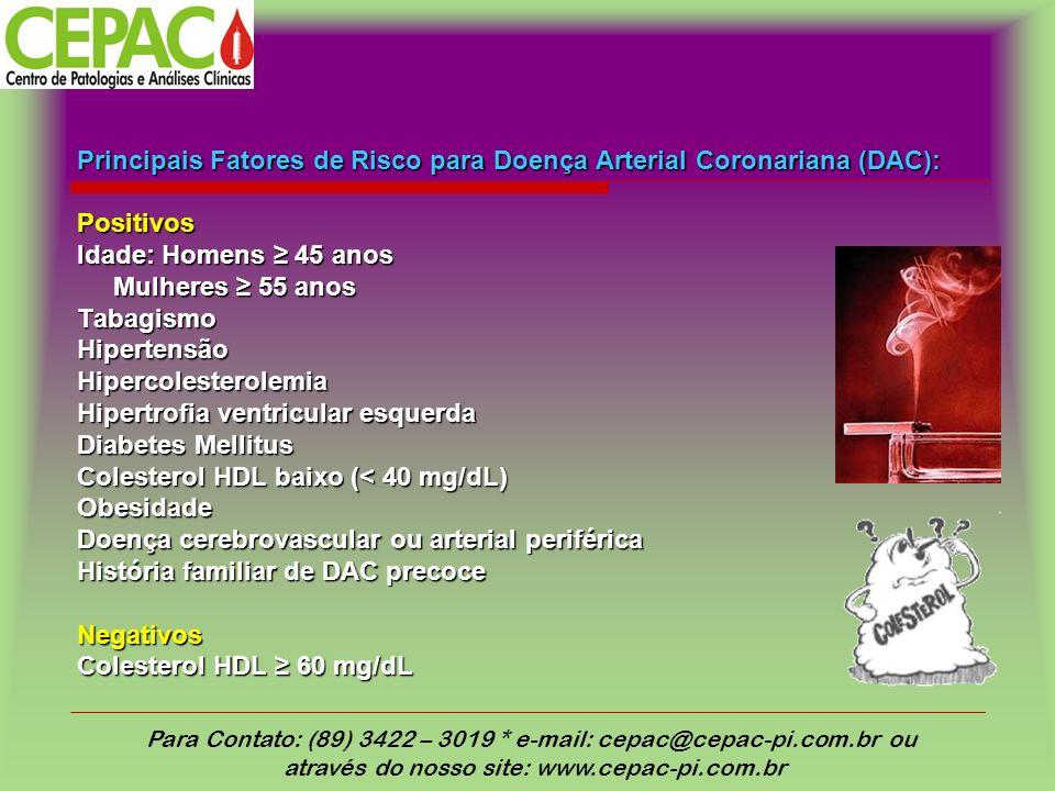 Principais Fatores de Risco para Doença Arterial Coronariana (DAC): Positivos Idade: Homens 45 anos Mulheres 55 anos Tabagismo Hipertensão Hipercolesterolemia Hipertrofia ventricular esquerda Diabetes Mellitus Colesterol HDL baixo (< 40 mg/dL) Obesidade Doença cerebrovascular ou arterial periférica História familiar de DAC precoce Negativos Colesterol HDL 60 mg/dL Para Contato: (89) 3422 – 3019 * e-mail: cepac@cepac-pi.com.br ou através do nosso site: www.cepac-pi.com.br