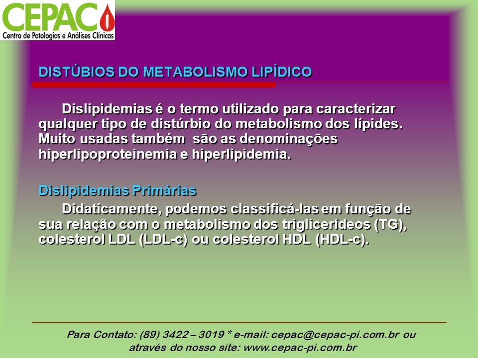 DISTÚBIOS DO METABOLISMO LIPÍDICO Dislipidemias é o termo utilizado para caracterizar qualquer tipo de distúrbio do metabolismo dos lípides. Muito usa