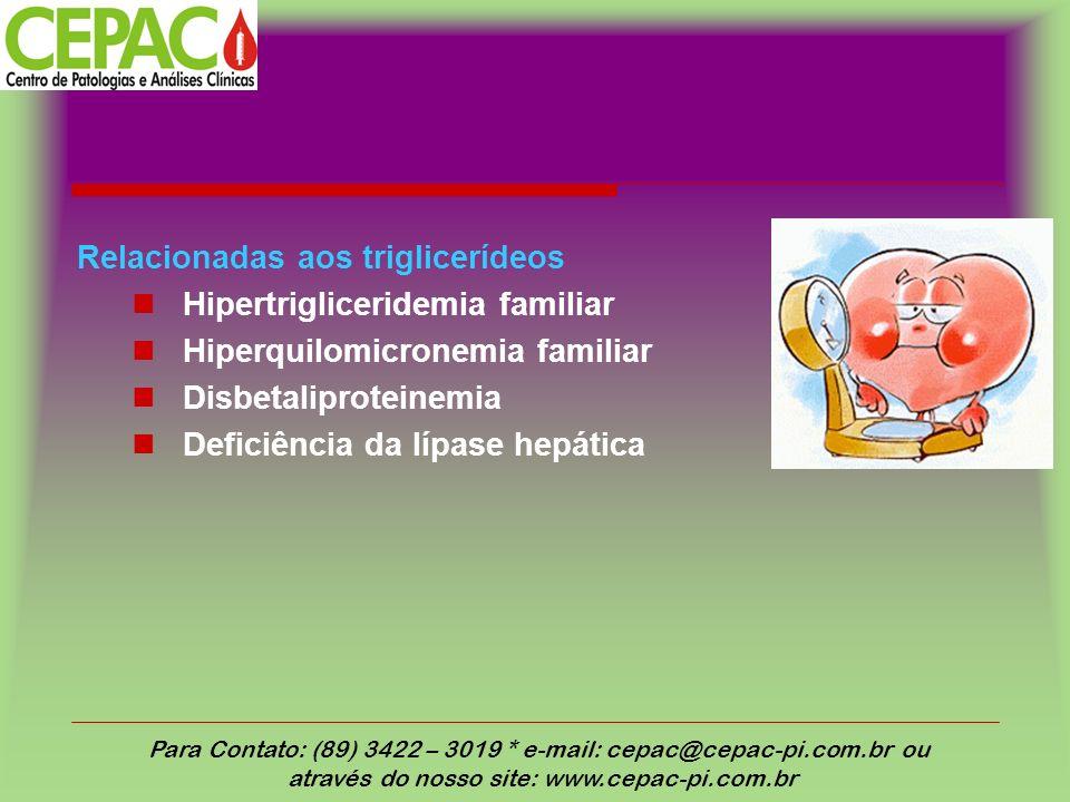 Relacionadas aos triglicerídeos Hipertrigliceridemia familiar Hiperquilomicronemia familiar Disbetaliproteinemia Deficiência da lípase hepática Para C
