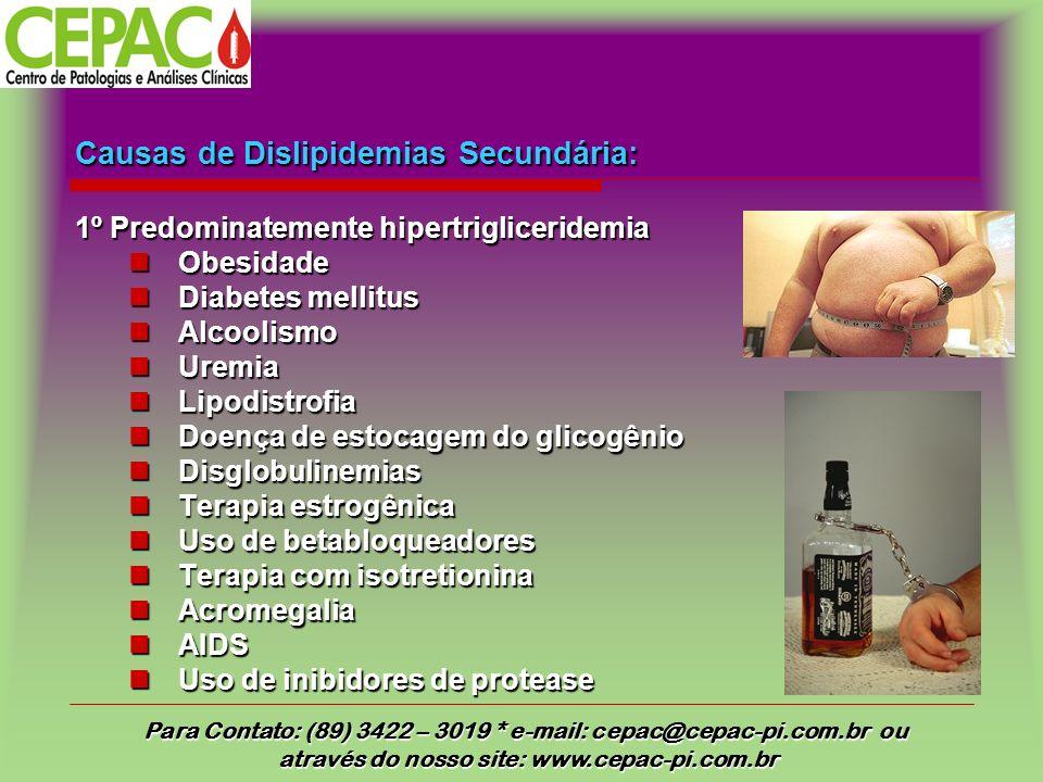Causas de Dislipidemias Secundária: 1º Predominatemente hipertrigliceridemia Obesidade Diabetes mellitus Alcoolismo Uremia Lipodistrofia Doença de estocagem do glicogênio Disglobulinemias Terapia estrogênica Uso de betabloqueadores Terapia com isotretionina Acromegalia AIDS Uso de inibidores de protease Para Contato: (89) 3422 – 3019 * e-mail: cepac@cepac-pi.com.br ou através do nosso site: www.cepac-pi.com.br