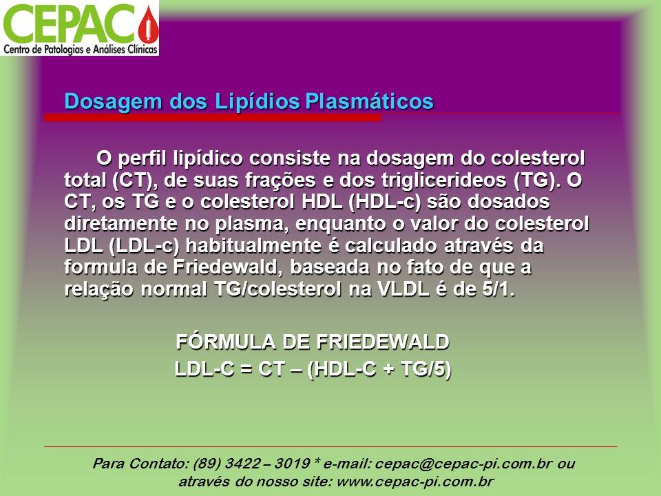Dosagem dos Lipídios Plasmáticos O perfil lipídico consiste na dosagem do colesterol total (CT), de suas frações e dos triglicerideos (TG). O CT, os T