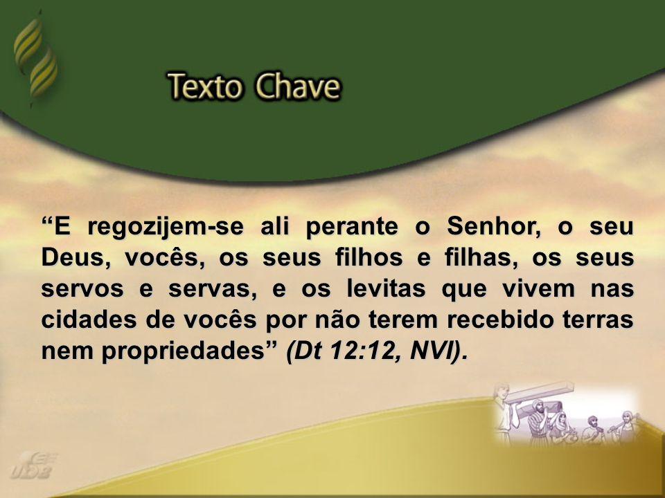 E regozijem-se ali perante o Senhor, o seu Deus, vocês, os seus filhos e filhas, os seus servos e servas, e os levitas que vivem nas cidades de vocês