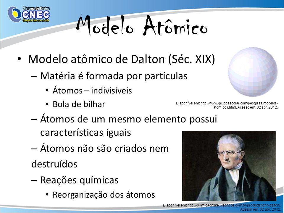 Modelo Atômico Modelo atômico de Dalton (Séc. XIX) – Matéria é formada por partículas Átomos – indivisíveis Bola de bilhar – Átomos de um mesmo elemen