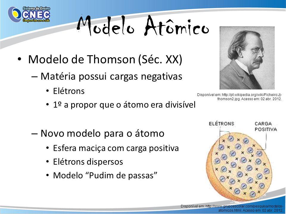 Modelo Atômico Modelo de Thomson (Séc. XX) – Matéria possui cargas negativas Elétrons 1º a propor que o átomo era divisível – Novo modelo para o átomo