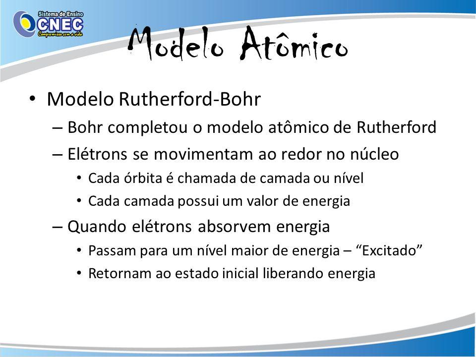 Modelo Atômico Modelo Rutherford-Bohr – Bohr completou o modelo atômico de Rutherford – Elétrons se movimentam ao redor no núcleo Cada órbita é chamada de camada ou nível Cada camada possui um valor de energia – Quando elétrons absorvem energia Passam para um nível maior de energia – Excitado Retornam ao estado inicial liberando energia