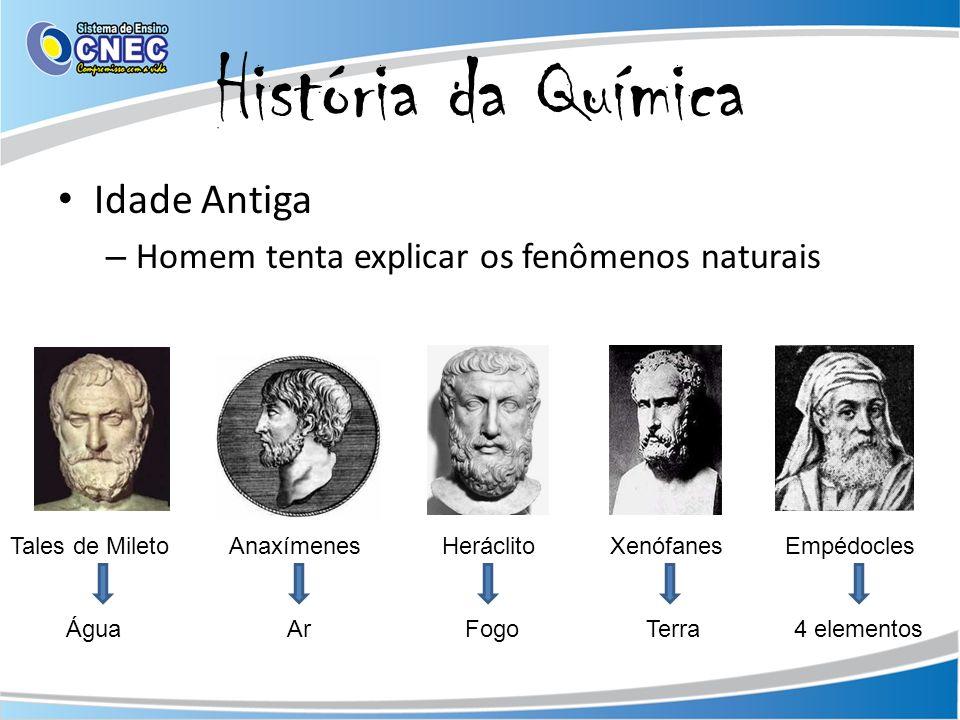 História da Química Idade Antiga – Homem tenta explicar os fenômenos naturais Tales de Mileto Anaxímenes Heráclito Xenófanes Empédocles Água Ar Fogo Terra 4 elementos
