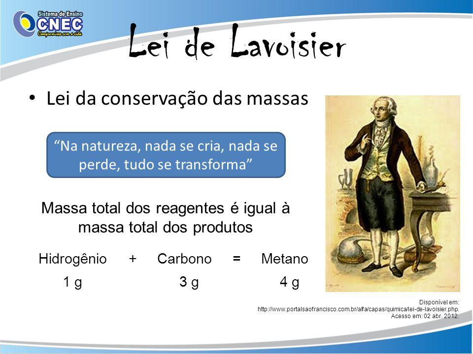 Lei de Lavoisier Lei da conservação das massas Disponível em: http://www.portalsaofrancisco.com.br/alfa/capas/quimica/lei-de-lavoisier.php. Acesso em: