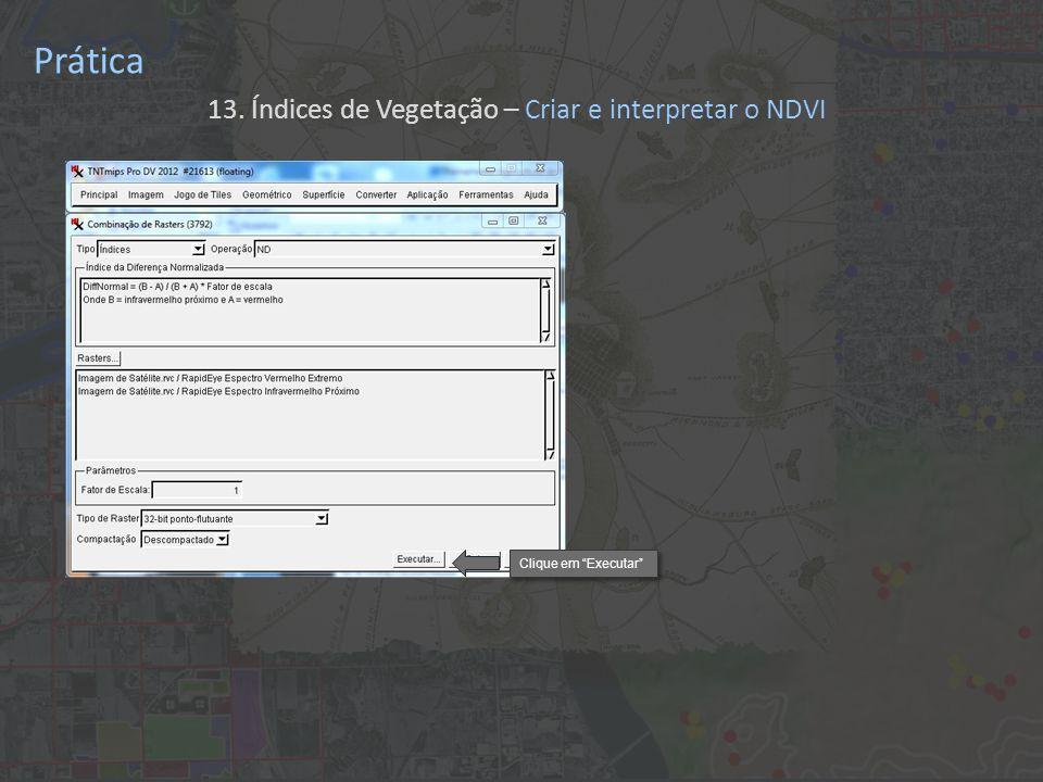Prática 13. Índices de Vegetação – Criar e interpretar o NDVI Clique em Executar
