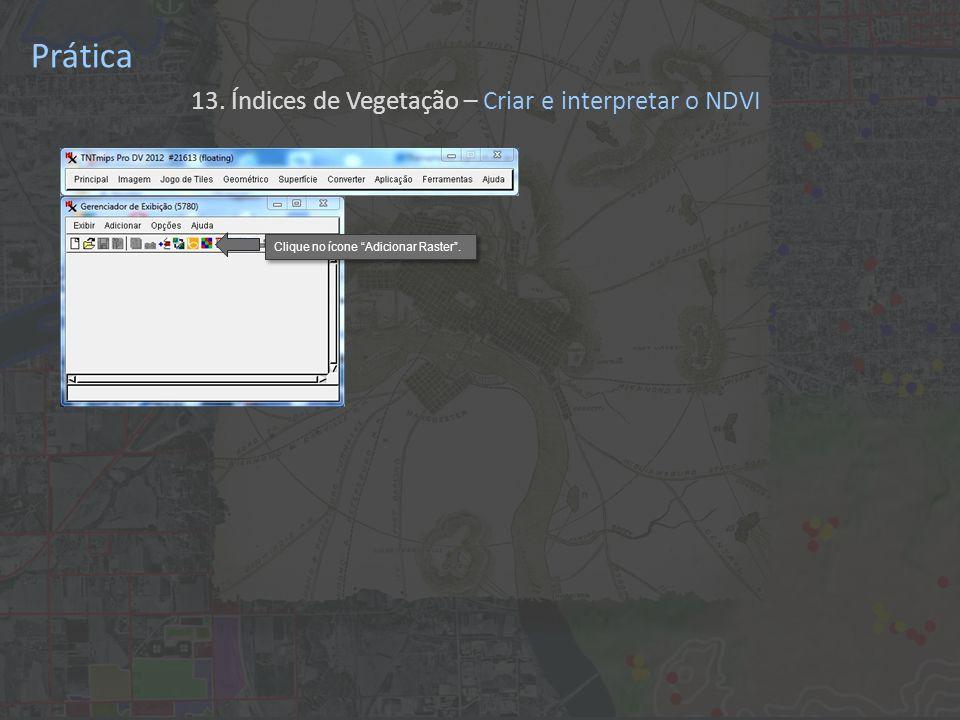 Prática 13. Índices de Vegetação – Criar e interpretar o NDVI Clique no ícone Adicionar Raster.