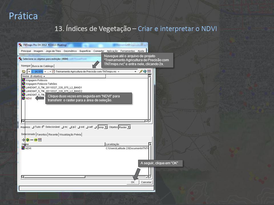 Prática 13. Índices de Vegetação – Criar e interpretar o NDVI Clique duas vezes em seguida em NDVI para transferir o raster para a área de seleção. A