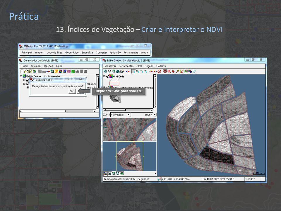 Prática 13. Índices de Vegetação – Criar e interpretar o NDVI Clique em Sim para finalizar.