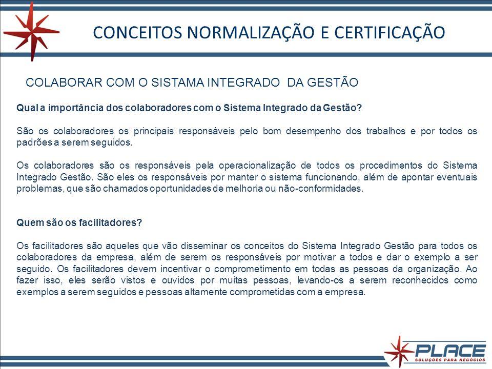 CONCEITOS NORMALIZAÇÃO E CERTIFICAÇÃO COLABORAR COM O SISTAMA INTEGRADO DA GESTÃO Qual a importância dos colaboradores com o Sistema Integrado da Gestão.