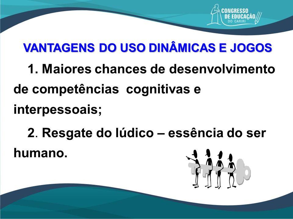 VANTAGENS DO USO DINÂMICAS E JOGOS 1. Maiores chances de desenvolvimento de competências cognitivas e interpessoais; 2. Resgate do lúdico – essência d