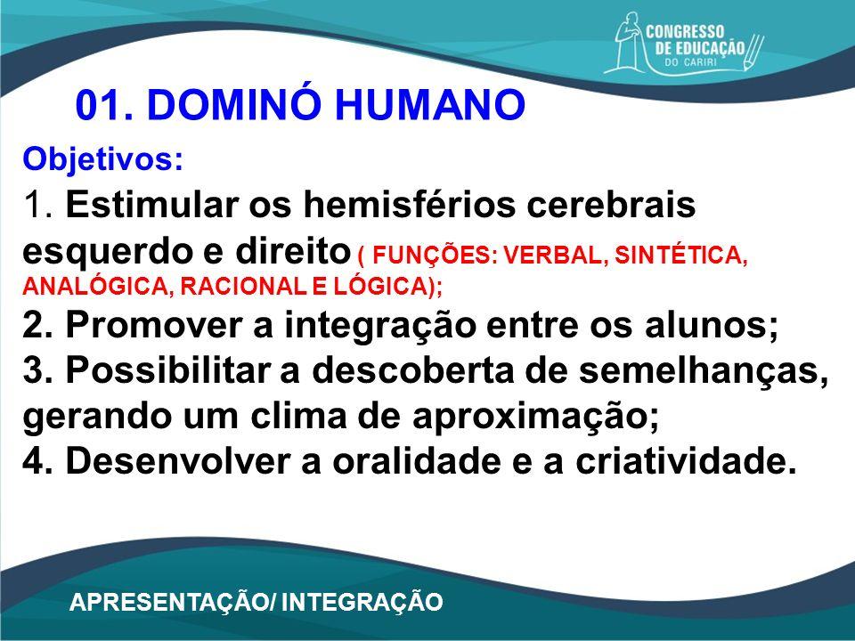 APRESENTAÇÃO/ INTEGRAÇÃO 01. DOMINÓ HUMANO Objetivos: 1. Estimular os hemisférios cerebrais esquerdo e direito ( FUNÇÕES: VERBAL, SINTÉTICA, ANALÓGICA