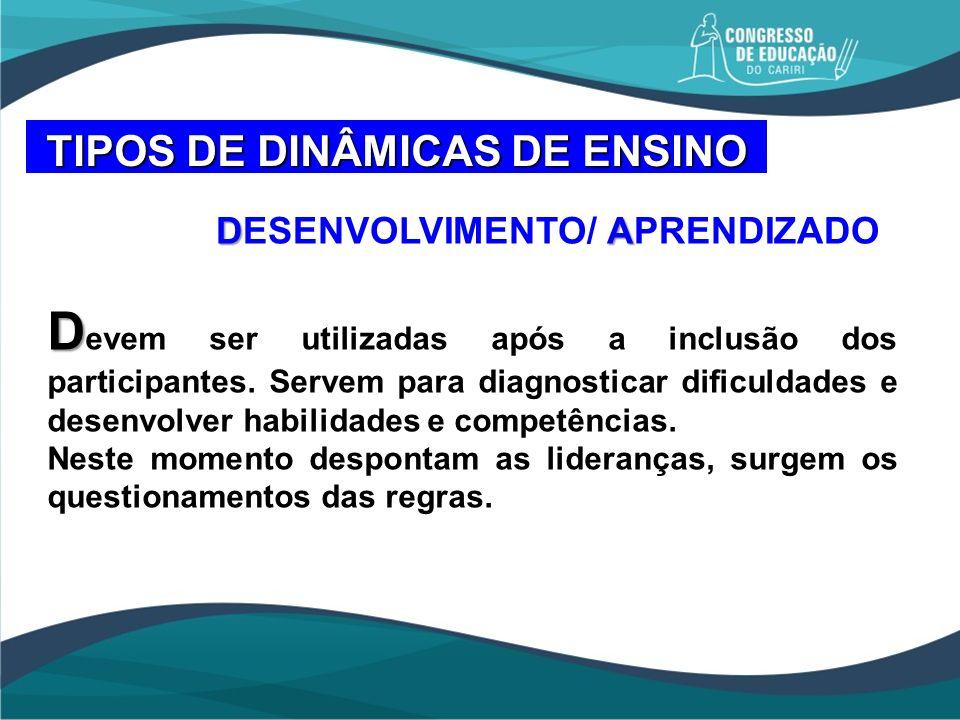 DA DESENVOLVIMENTO/ APRENDIZADO D D evem ser utilizadas após a inclusão dos participantes. Servem para diagnosticar dificuldades e desenvolver habilid