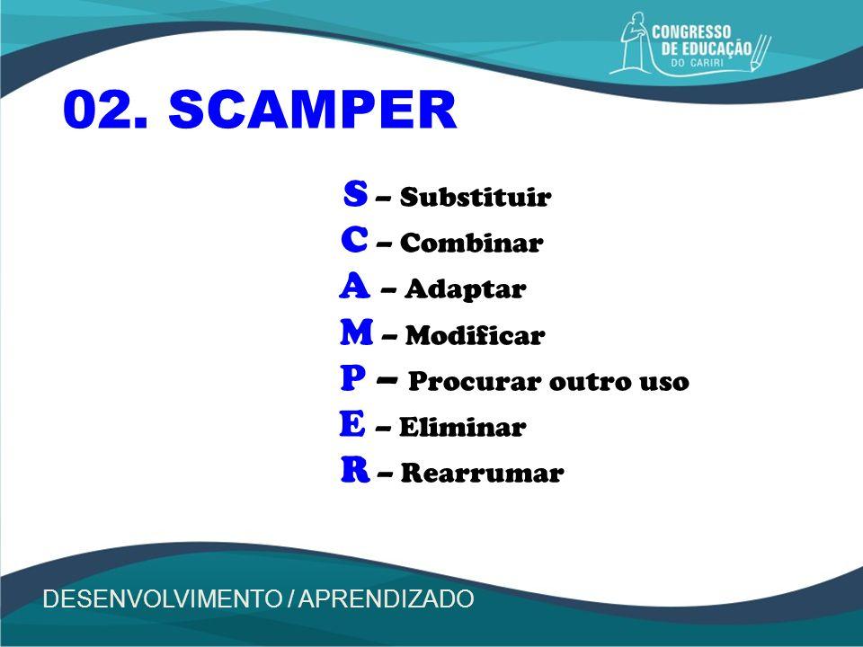 S – Substituir C – Combinar A – Adaptar M – Modificar P – Procurar outro uso E – Eliminar R – Rearrumar 02. SCAMPER DESENVOLVIMENTO / APRENDIZADO