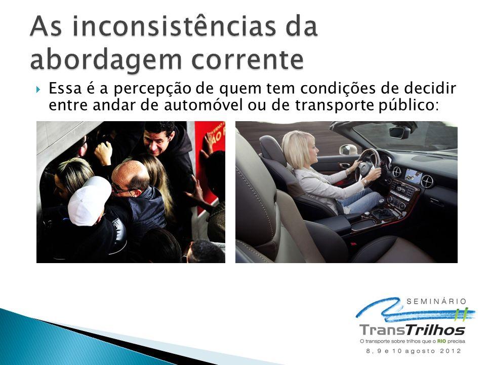 Essa é a percepção de quem tem condições de decidir entre andar de automóvel ou de transporte público: