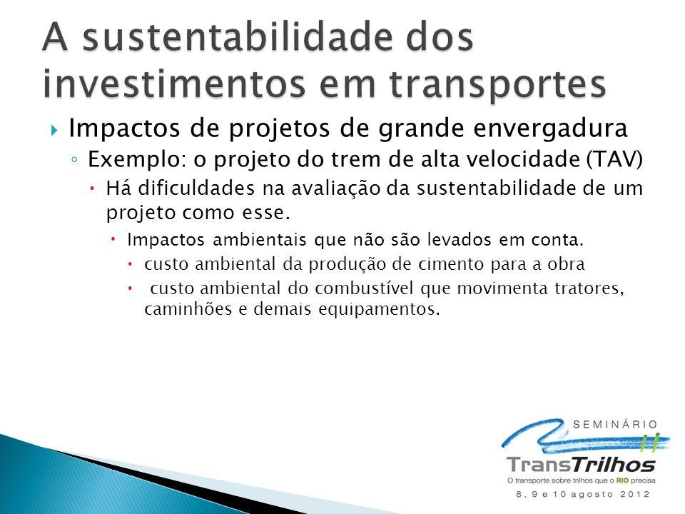 Impactos de projetos de grande envergadura Exemplo: o projeto do trem de alta velocidade (TAV) Há dificuldades na avaliação da sustentabilidade de um projeto como esse.