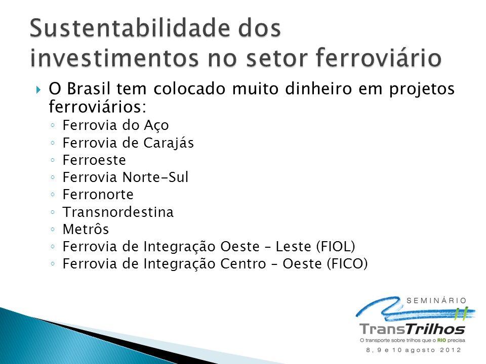 O Brasil tem colocado muito dinheiro em projetos ferroviários: Ferrovia do Aço Ferrovia de Carajás Ferroeste Ferrovia Norte-Sul Ferronorte Transnordestina Metrôs Ferrovia de Integração Oeste – Leste (FIOL) Ferrovia de Integração Centro – Oeste (FICO)