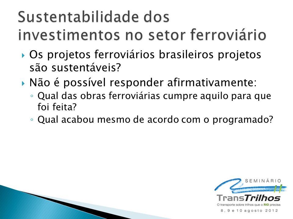 Os projetos ferroviários brasileiros projetos são sustentáveis? Não é possível responder afirmativamente: Qual das obras ferroviárias cumpre aquilo pa
