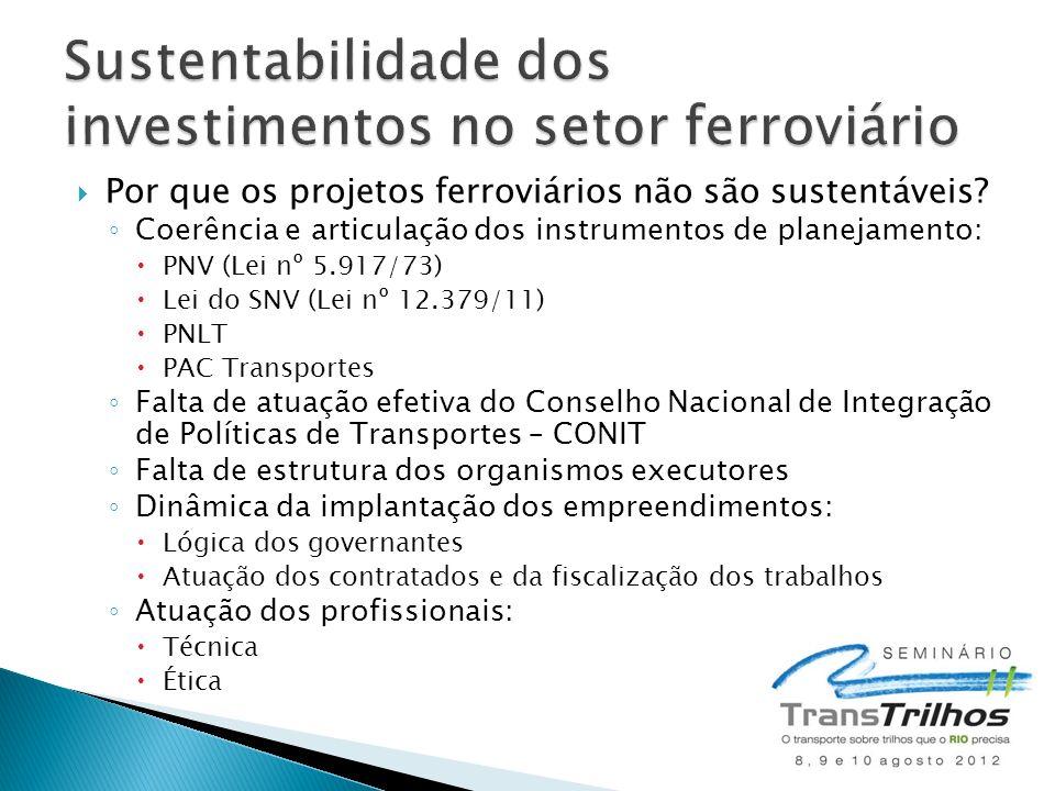 Por que os projetos ferroviários não são sustentáveis? Coerência e articulação dos instrumentos de planejamento: PNV (Lei nº 5.917/73) Lei do SNV (Lei