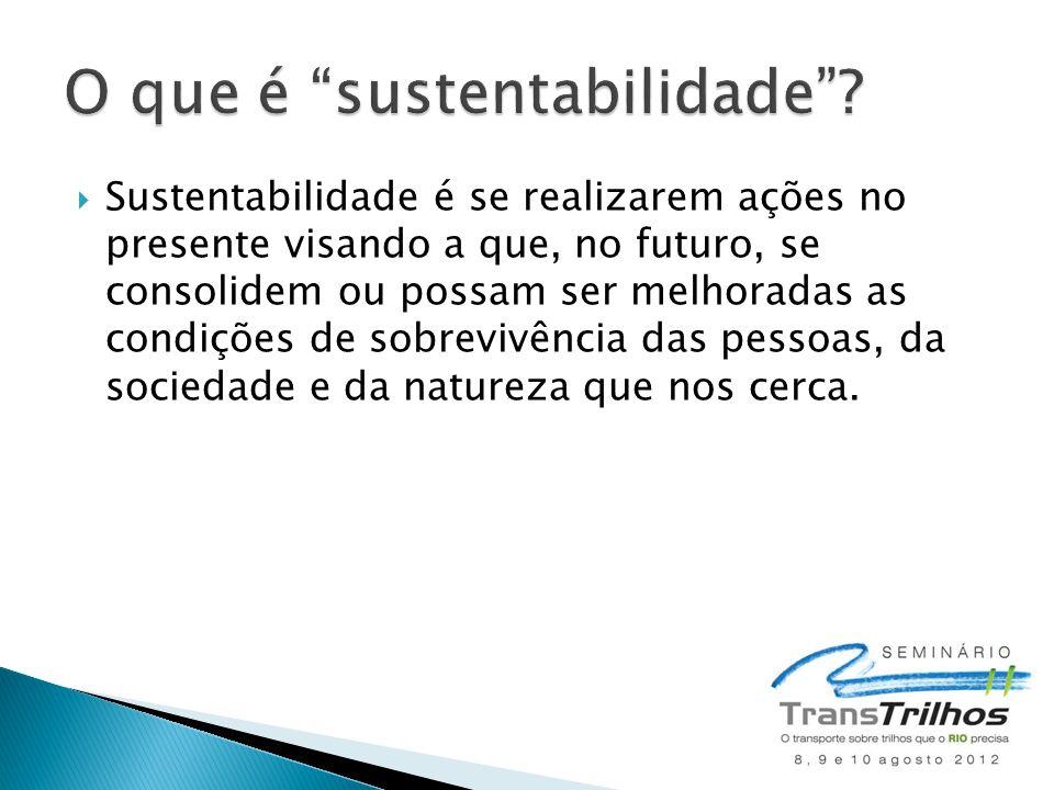 Sustentabilidade é se realizarem ações no presente visando a que, no futuro, se consolidem ou possam ser melhoradas as condições de sobrevivência das pessoas, da sociedade e da natureza que nos cerca.