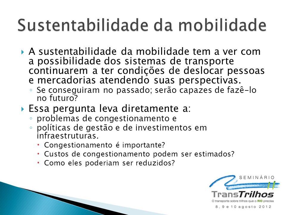 A sustentabilidade da mobilidade tem a ver com a possibilidade dos sistemas de transporte continuarem a ter condições de deslocar pessoas e mercadorias atendendo suas perspectivas.