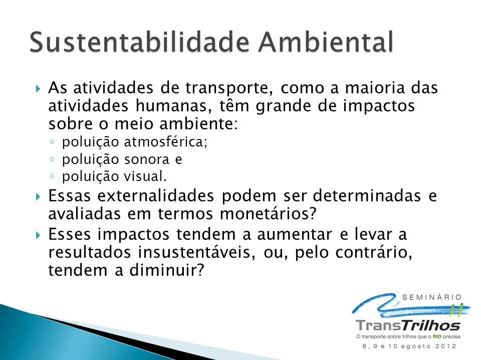 As atividades de transporte, como a maioria das atividades humanas, têm grande de impactos sobre o meio ambiente: poluição atmosférica; poluição sonora e poluição visual.