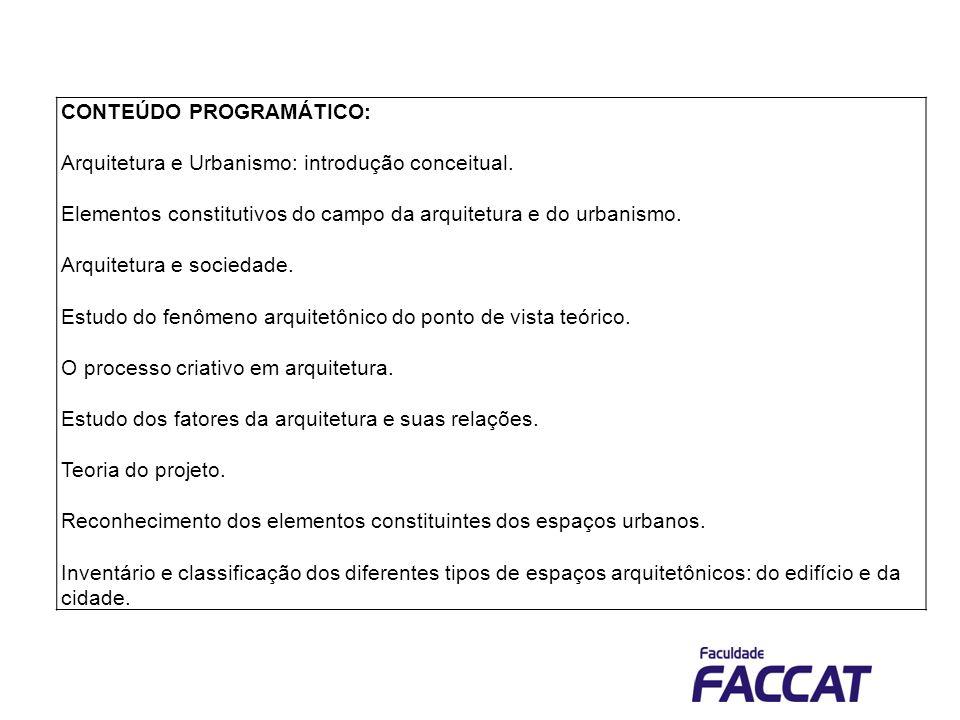 Bibliografia básica LIMA, J.F.O que é ser arquiteto.