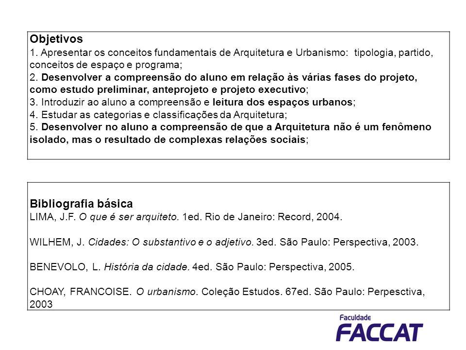 Bibliografia básica LIMA, J.F. O que é ser arquiteto. 1ed. Rio de Janeiro: Record, 2004. WILHEM, J. Cidades: O substantivo e o adjetivo. 3ed. São Paul