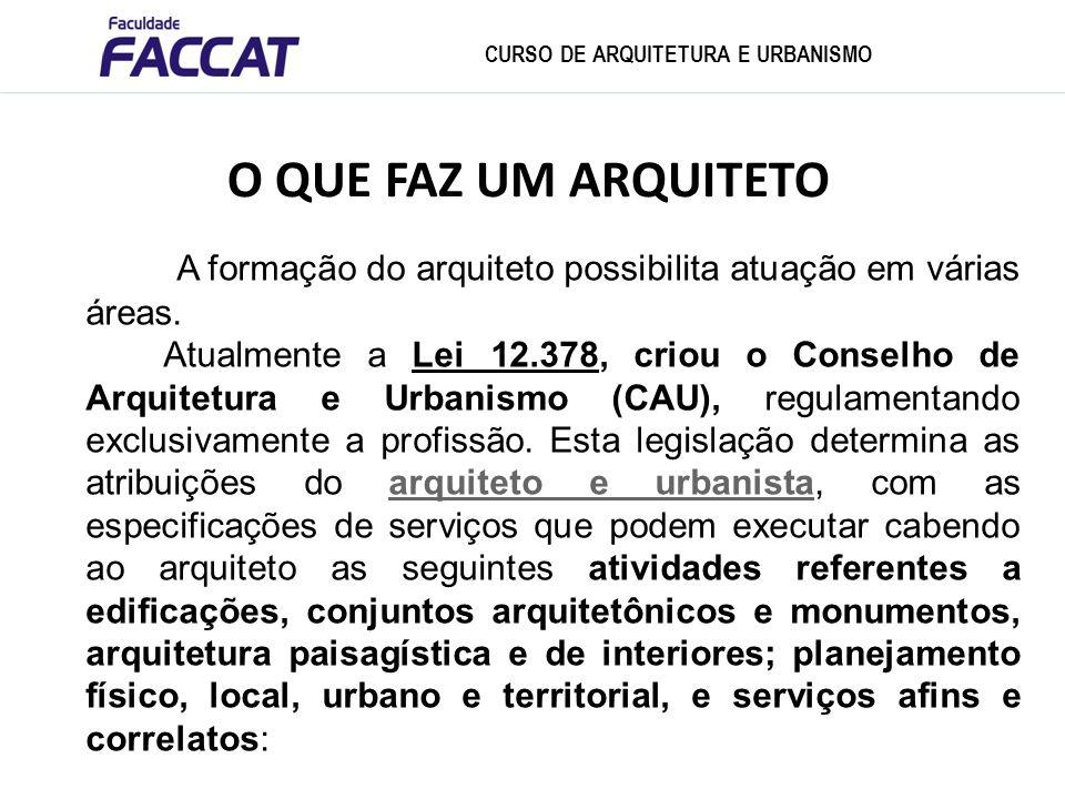 A formação do arquiteto possibilita atuação em várias áreas. Atualmente a Lei 12.378, criou o Conselho de Arquitetura e Urbanismo (CAU), regulamentand