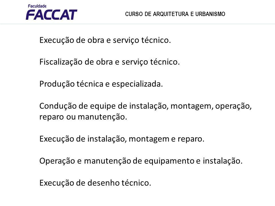 Execução de obra e serviço técnico.Fiscalização de obra e serviço técnico.