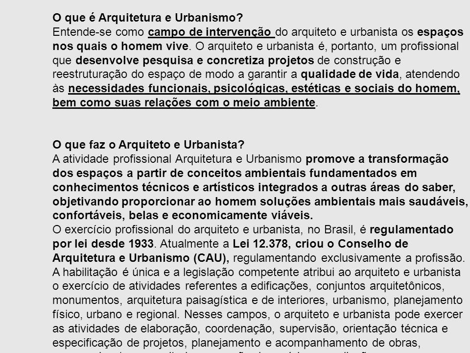 O que é Arquitetura e Urbanismo? Entende-se como campo de intervenção do arquiteto e urbanista os espaços nos quais o homem vive. O arquiteto e urbani