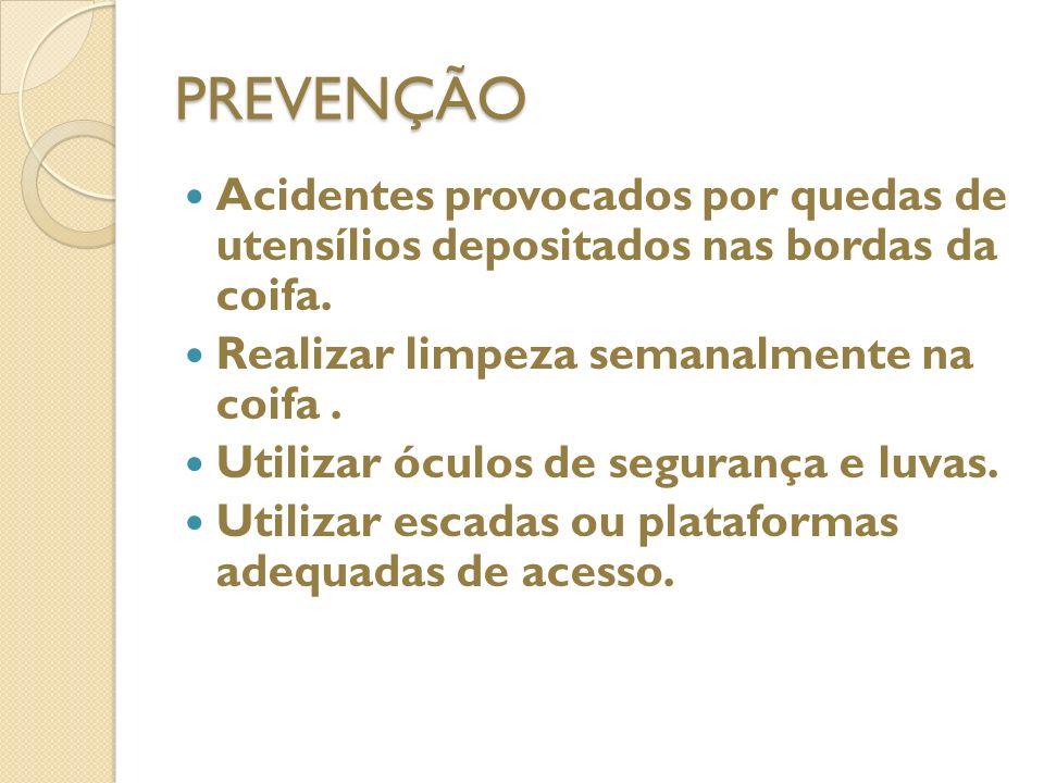 COIFAS 1. ACIDENTES PROVOCADOS POR QUEDAS DE UTENSÍLIOS COLOCADOS NAS LATERAIS; 2. PRINCÍPIOS DE INCÊNDIOS PELO ACÚMULO DE GORDURAS; 3. ACIDENTES NOS