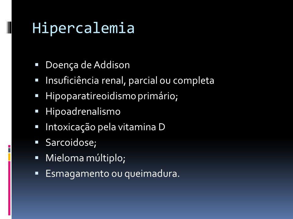 Hipercalemia Doença de Addison Insuficiência renal, parcial ou completa Hipoparatireoidismo primário; Hipoadrenalismo Intoxicação pela vitamina D Sarc