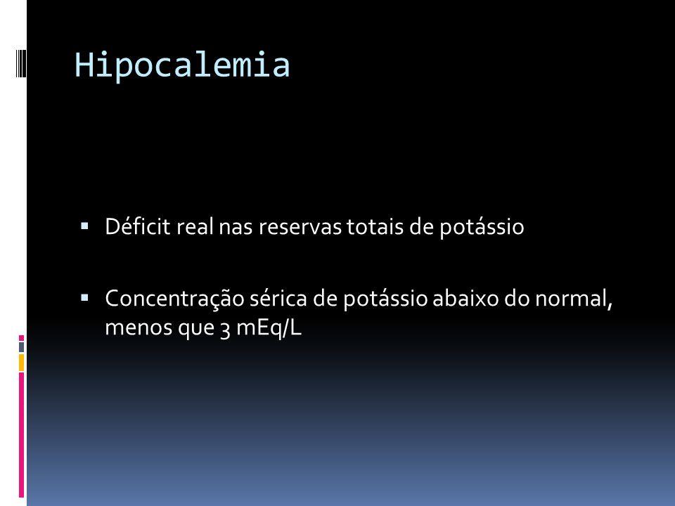 Hipocalemia Déficit real nas reservas totais de potássio Concentração sérica de potássio abaixo do normal, menos que 3 mEq/L