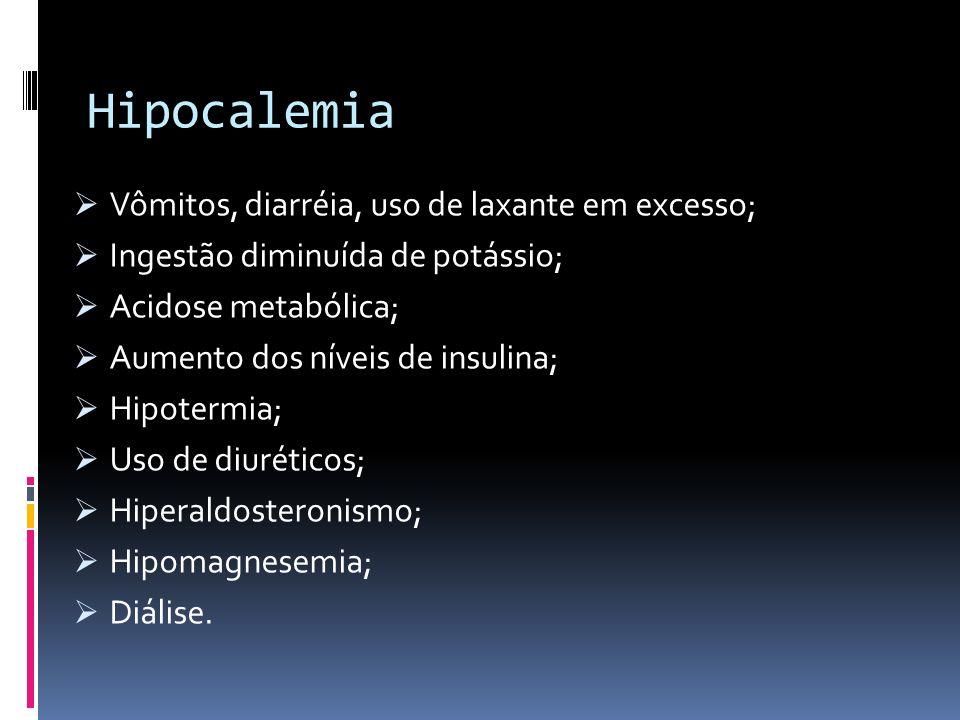 Hipocalemia Vômitos, diarréia, uso de laxante em excesso; Ingestão diminuída de potássio; Acidose metabólica; Aumento dos níveis de insulina; Hipoterm