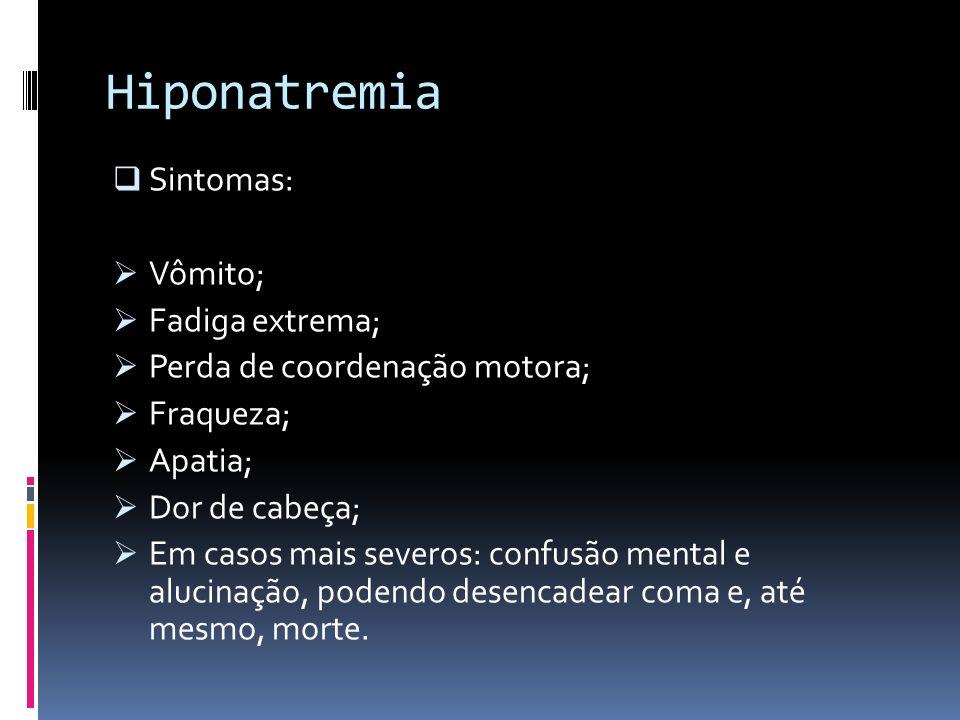 Hiponatremia Sintomas: Vômito; Fadiga extrema; Perda de coordenação motora; Fraqueza; Apatia; Dor de cabeça; Em casos mais severos: confusão mental e