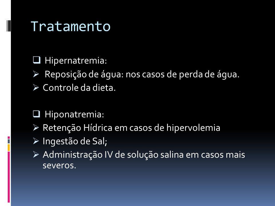 Tratamento Hipernatremia: Reposição de água: nos casos de perda de água. Controle da dieta. Hiponatremia: Retenção Hídrica em casos de hipervolemia In